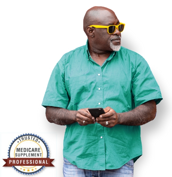 senior african american man wearing sunglasses holding phone